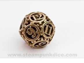 Steampunk Gear d12 in Polished Bronzed Silver Steel