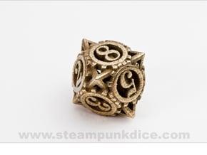 Steampunk Gear d8 in Polished Bronzed Silver Steel