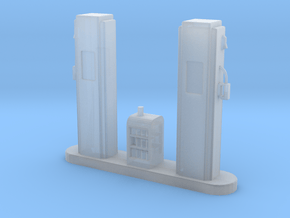 S-Scale 1950's Gas Pump Island in Smooth Fine Detail Plastic