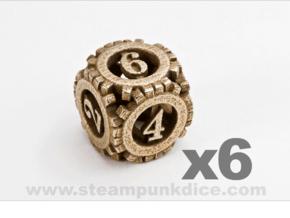 Steampunk Gear 6d6 Set in Polished Bronzed Silver Steel