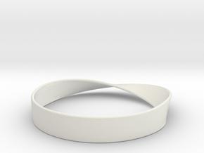 Möbius Bracelet Bangle in White Natural Versatile Plastic: Medium