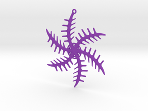 Ornament, Snowflake 001 in Purple Processed Versatile Plastic