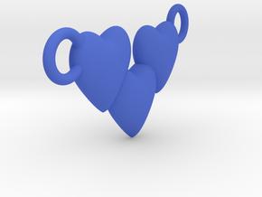 Love Three Hearts (Big Size Pendant) in Blue Processed Versatile Plastic