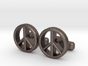Peace in Polished Bronzed Silver Steel