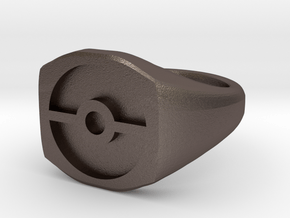 Pokeball Ring-Wide Band (Edit size in description) in Polished Bronzed Silver Steel