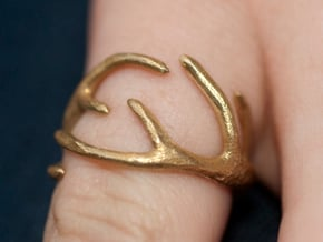 Antlers Ring 17mm  in Natural Brass