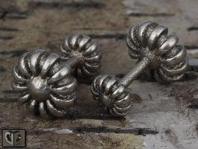 Cufflinks - Flowers in Polished Bronzed Silver Steel