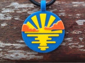 'Sunrise and Morning Clouds' Pendant in Sandstone in Full Color Sandstone