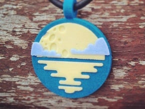 'Moonrise with Clouds' Pendant in Sandstone in Full Color Sandstone