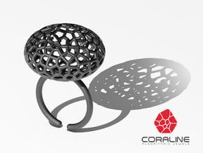 Star Coral Ring sz 7 in Black Natural Versatile Plastic