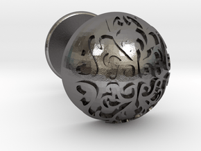 Button Cuff in Polished Nickel Steel