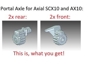 Portal Axle - Axial AX10, SCX10, 4x4x2 in White Natural Versatile Plastic