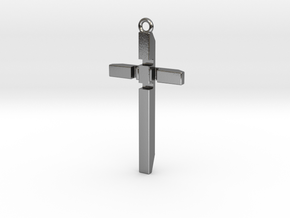 Women's Cross Necklace V2 - FRONT in Polished Silver