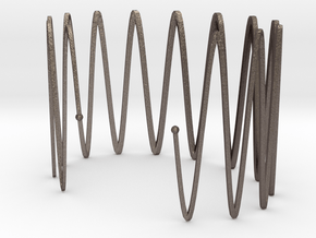 Wrist Cuff - wave in Polished Bronzed Silver Steel