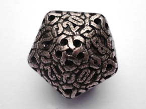 Ring d20 in Polished Bronzed Silver Steel