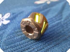 Twisted Hex Bead 1: Tritium (Pandora Thread) in Natural Bronze