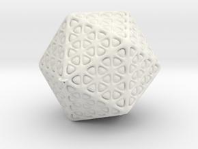Icosahedron Christmas Tree Ornament in White Natural Versatile Plastic