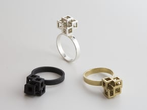 Quadro Ring - US 6 in Natural Brass