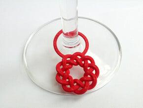 Wine Glass Tag - Braid in Red Processed Versatile Plastic