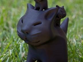 Cat and her kittens! in Black Natural Versatile Plastic