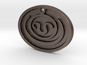 Stargate SG1 Teal'c Apophis Jaffa Head Symbol Neck in Polished Bronzed Silver Steel