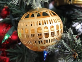 Library of Congress Christmas Ornament in Polished Gold Steel