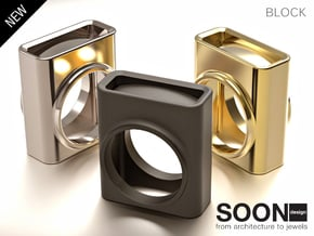 BLOCK RING - SIZE 7 in Polished Silver