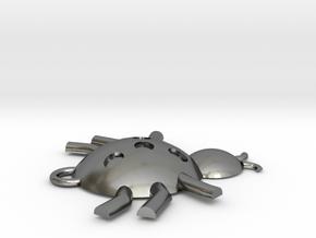 Ladybug Pendant in Polished Silver