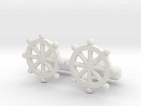 Ship Helm Cufflinks, Part of the NEW Nautical Coll in White Natural Versatile Plastic