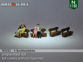 4 Rundholzbänke (N 1:160) in White Natural Versatile Plastic