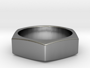 Stylish Nut Ring 21 mm in Polished Silver