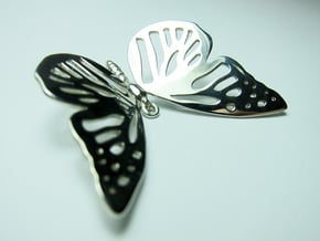 Butterfly Pendant in Fine Detail Polished Silver
