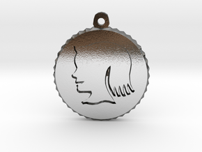 Vintage Girl Silhouette Charm in Polished Silver