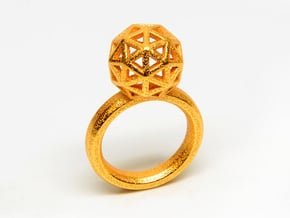 Geodesic Dome Ring size 8 in Polished Gold Steel
