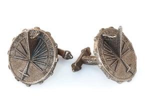 Sundial Cufflinks in Polished Bronzed Silver Steel