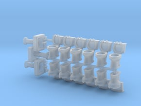 Toilet X12 and Sinks x3 HO Scale in Smooth Fine Detail Plastic