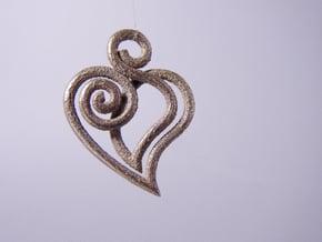 Heart Line in Polished Bronzed Silver Steel