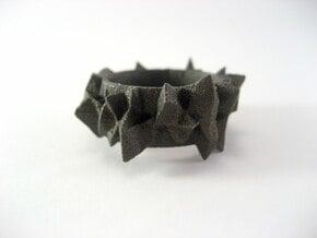 Facets Ring - Part 2 (Size 7) in Matte Black Steel