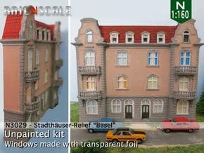 Stadthäuser-Relief 'Basel' (N 1:160) in White Natural Versatile Plastic