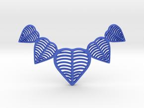 Leafy heart pendant / Necklace in Blue Processed Versatile Plastic