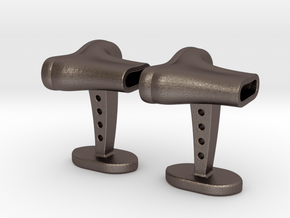Boots cufflinks in Polished Bronzed Silver Steel