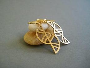 Geometric Earrings - 劲爆体育在线直播 Printed in Metal in Natural Bronze