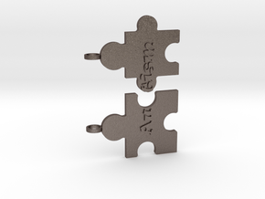 Autism Puzzle Peices Necklace in Polished Bronzed Silver Steel