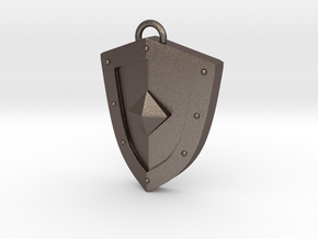 Simplistic Shield Pendant in Polished Bronzed Silver Steel