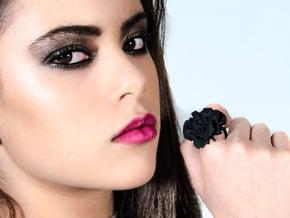 EUNICE Fractal Ring in Black Natural Versatile Plastic
