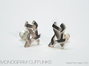 Custom Monogram Cufflinks in Polished Silver