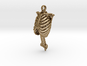 Rib Cage Pendant in Polished Gold Steel