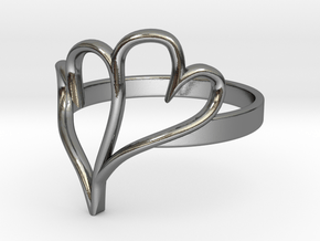 Double Heart Ring (Sz 6) in Polished Silver