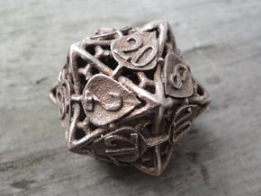 Botanical d20 (Aspen) in Polished Bronzed Silver Steel