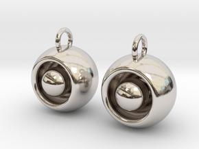 Floating Iris Earrings in Rhodium Plated Brass